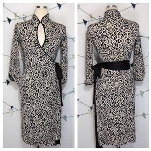 DvF Madame Black Wool Paisley Wrap Silk Dress